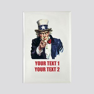 [Your text] Uncle Sam 2 Rectangle Magnet